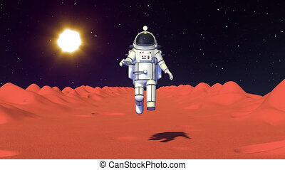 Spaceman in spacesuit run with low gravity on Mars surface front view. Astronaut game character. 3D render looped animation.