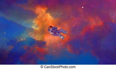 Spaceman flies in vivid clouds