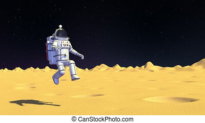 Spaceman on moon surface walk with low gravity. 3D render looped animation.
