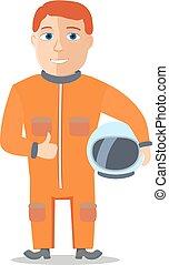 spaceman, personagem, suit., vetorial, cpace, caricatura
