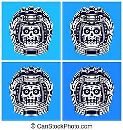 Spaceman skull. Modern space print. Monochrome emblem.