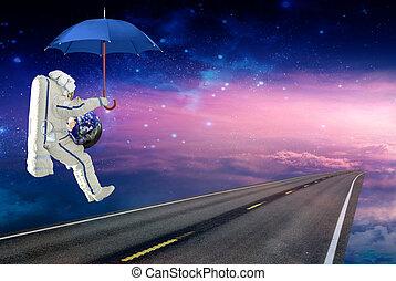 spaceman, terras, ligado, um, guarda-chuva, com, a, terra planeta, ligado, um, espaço, rota