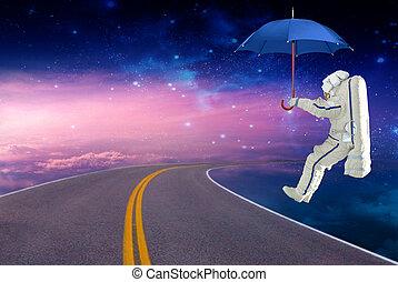 spaceman, terras, ligado, um, guarda-chuva, ligado, a, espaço, rota