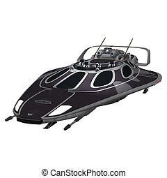 Spaceship - 3D digital render of a dark spaceship isolated...