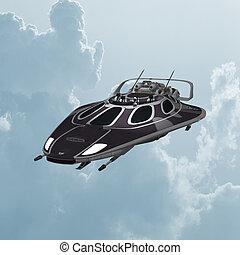 Spaceship - 3D digital render of a dark spaceship on blue...