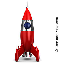 spaceship - 3d illustration of cartoon rocket over white ...