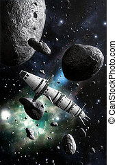 spaceship and asteroid field 3D render science fiction ...