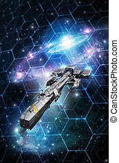 spaceship and space tactical grid 3D render science fiction...