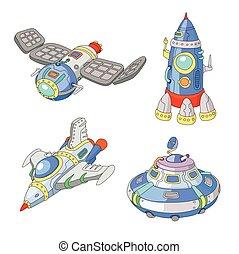 Spaceship and UFO vector cartoon set, Rocket and spacecraft