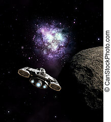 Science fiction illustration of a spaceship passing a dead planet and approaching the galactic core in deep space, 3d digitally rendered illustration