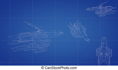 "Spaceship blueprint animation - ""3D CG, spaceship blueprint ..."