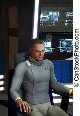spaceship captain futuristic man 3D render science fiction ...