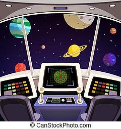 Flying spaceship cabin futuristic interior cartoon with space backdrop vector illustration
