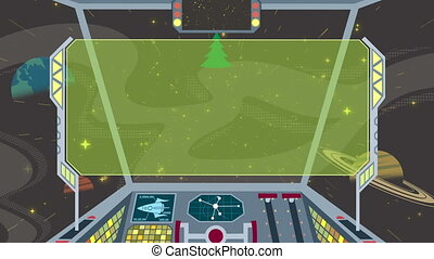 Spaceship Cockpit 2 - Cartoon of spaceship cockpit. Looping...