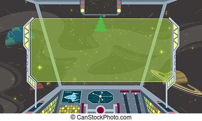 Cartoon of spaceship cockpit. Looping animation.