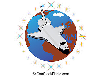 Spaceship - Space shuttle against the backdrop of the planet...