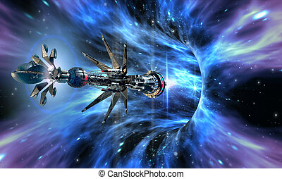 Spaceship entering a wormhole - Deep space background with...