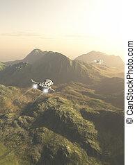 Spaceship Exploration Mission - Science fiction illustration...