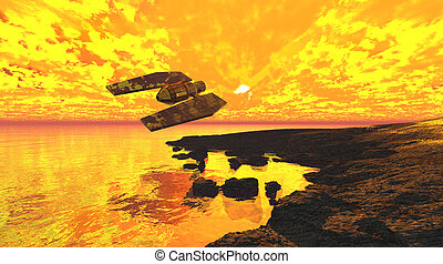 Spaceship flaming sunset - Spaceship flaming cloudy sunset...