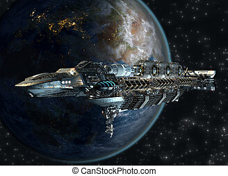 Spaceship leaving Earth as a 3D concept for futuristic interstellar deep space travel for sci-fi backgrounds
