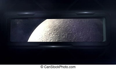 Spaceship flies in orbit of the moon.