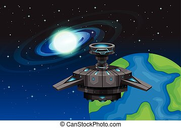 Spaceship floating in the space
