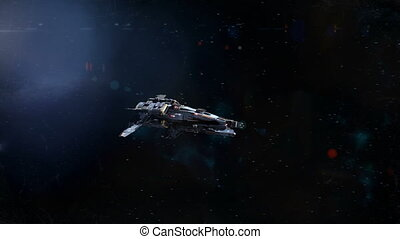 Spaceship Flyby - Lovely shot of a spaceship flying by the...