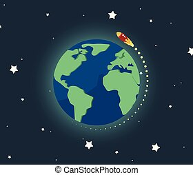 Spaceship flying around the world
