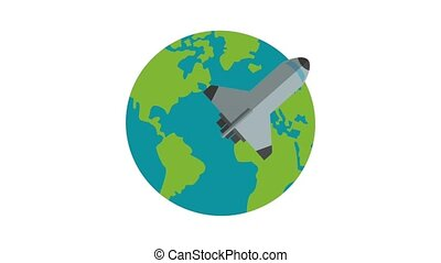 Spaceship flying around the world HD animation