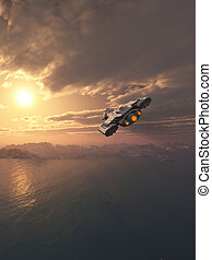 Spaceship Flying at Sunset - Science fiction spaceship...