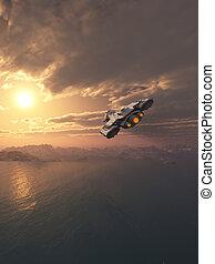 Spaceship Flying at Sunset