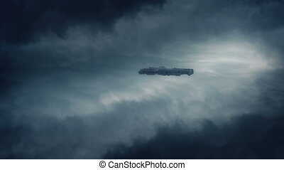 Spaceship Flying In Clouds