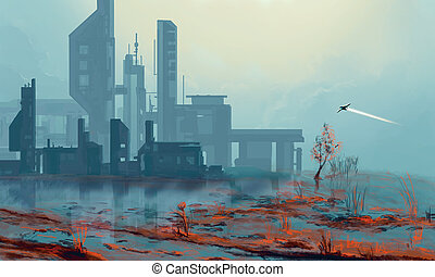 Spaceship flying in post apocalyptic landscape city at sunset. Blue toned illustration