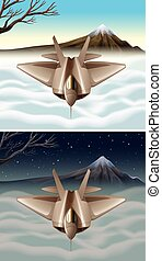 Spaceship flying in the sky illustration