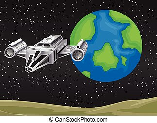 Spaceship flying in the space
