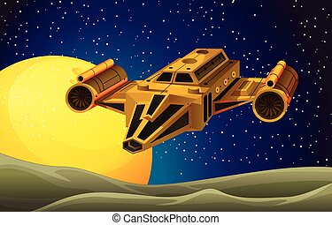 Spaceship flying in the space illustration