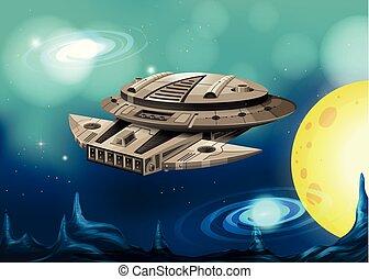 Spaceship flying in universe