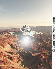 Spaceship Flying Over a Red Desert Planet