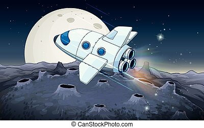 Spaceship flying over the moon