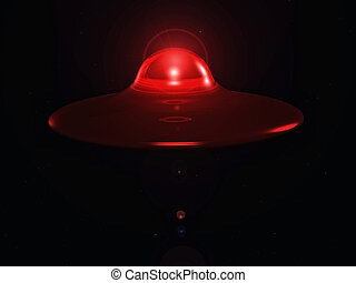 flying saucer in the space