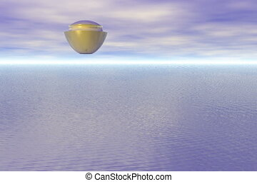 Spaceship flying over the sea
