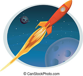 Spaceship Flying Through Space Banner - Illustration of a...