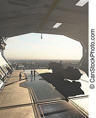 Spaceship Hangar overlooking a Future City