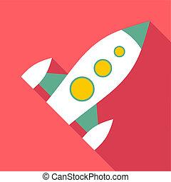 Spaceship icon, flat style
