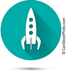 Spaceship icon on green background with shadow