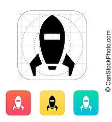 Spaceship icon on white background.