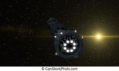 Futuristic military spacecraft in the initiating state of a warp drive, on a galactic starfield, for alien fantasy games or science fiction backgrounds of interstellar deep space travel
