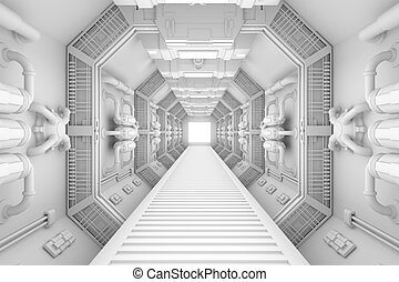 Spaceship interior center view with bright white texture