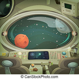 Illustration of a cartoon graphic scene of cosmic spacecraft interior traveling through scifi cosmos