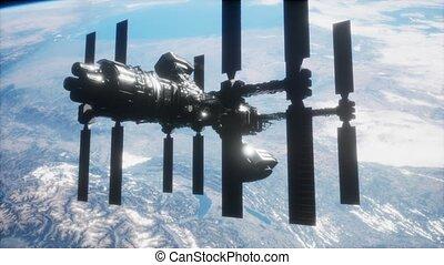 spaceship., iss, la terre, orbiter, vue